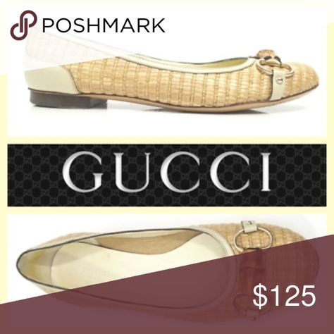 a03d8d26a ... ballet flats Gorgeous Ballet Flats From Gucci Woven Straw, Cream  Leather Trim. Bamboo Horsebit Classic Gucci Style. Size 9B Good pre-owned  condition.