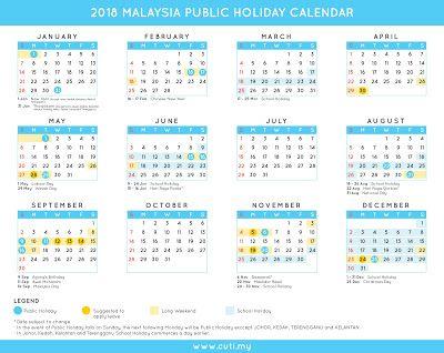 Malaysia 2018 Malaysia Public Holiday Calendar School Holiday Calendar Holiday Calendar Federal Holiday Calendar