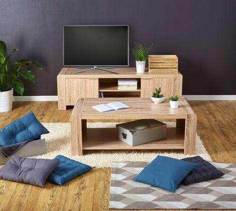 Salon Bois Brut Banc Tv Table Basse