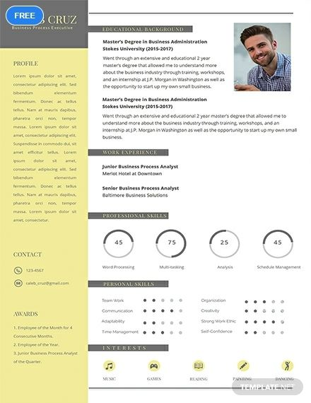 Free Business Process Executive Resume Cv Template Word Doc Psd Apple Mac Pages Publisher Executive Resume Template Resume Design Template Free Printable Resume Templates