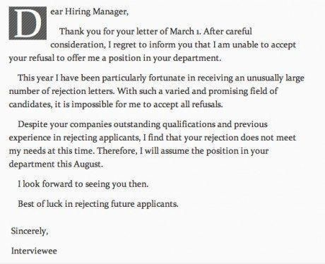 Anti Rejection Letter Funny Pinterest - employment rejection letter