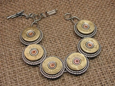 Shotgun Casing Jewelry - Bullet Jewelry - Brass Winchester 20 Gauge Shotgun Shell Bracelet - Mixed Metal Styling