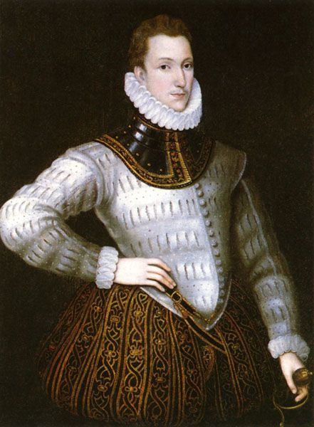 Sir Philip Sidney by an unknown artist 1554 - 1589 Sir Philip Sidney by an   unknown artist - National Portrait Gallery, London -- Son of Henry Sidney and brother of Mary Sidney. Famous poet after his death (as all were published posthumously). Died of wounds in battle. Married Frances, daughter of Francis Walsingham.