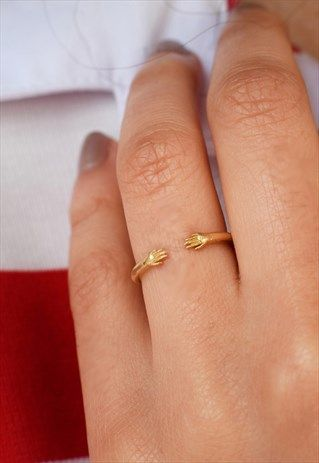 GOLD OPEN RING WITH HUG HANDS HANDMADE