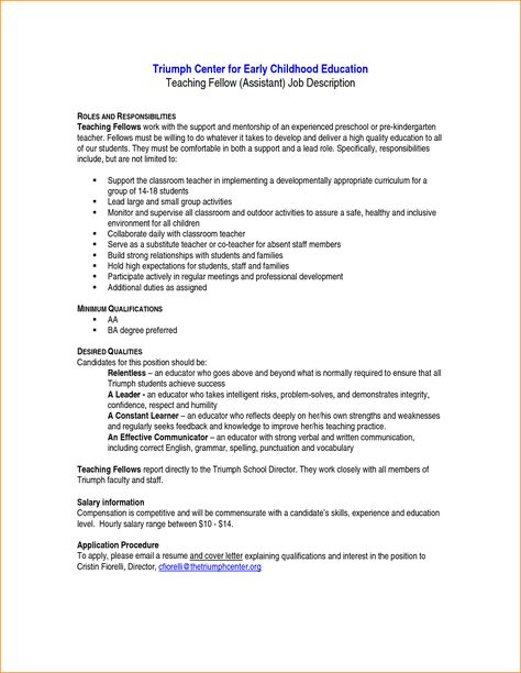 preschool aide cover letter education administrator behavioral - director of development job description