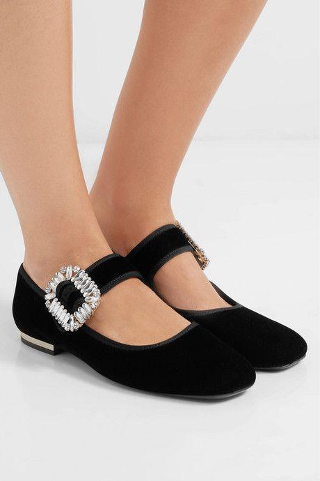 Crystal-Embellished Velvet Ballet Flats