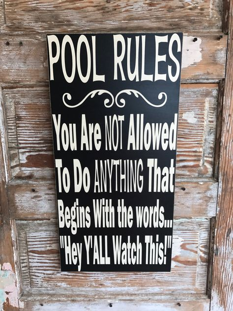 House Rules Sign 12 x 24 Wood Sign. Funny Sign House Rules Sign 12 x 24 Wood Sign. Pool Rules Sign, House Rules Sign, Pool Signs, Bar Signs, Funny Wood Signs, Wooden Signs, Country Wood Signs, Rustic Signs, Country Decor