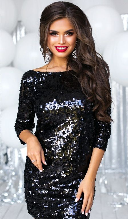 d96585d1d42 - елегантна дамска рокля с дълъг ръкав в черен цвят - множество пайети,  които придав…   Официални рокли от Онлайн магазин за дрехи -  yourfashionway.com in ...