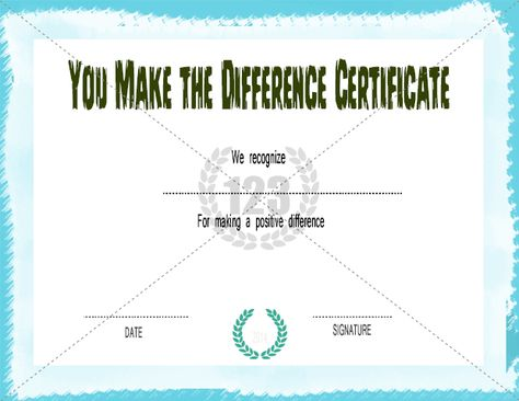 You Make The Difference Certificate Template Free Premium - attendance certificate template free