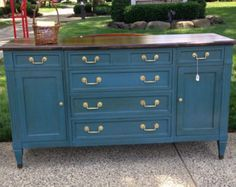 Credenza La Maison : Sold!! deep blue chalk painted dresser buffet credenza with walnut