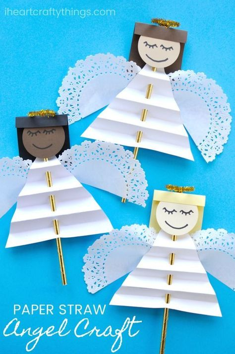 Beautiful Christmas angel craft for kids to make. Great Christmas craft for kids, angel kids craft and Sunday school Christmas craft for kids. #christmascrafts #ChristmasCraft #christmascraftsforkids #iheartcraftythings #angelcrafts #christmasangels