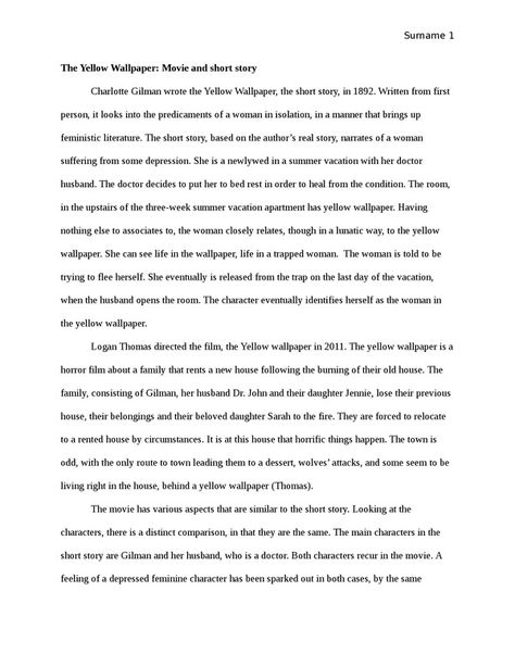 The Yellow Wallpaper Essay Example Topic And Sample Online Persuasive Examples Essays