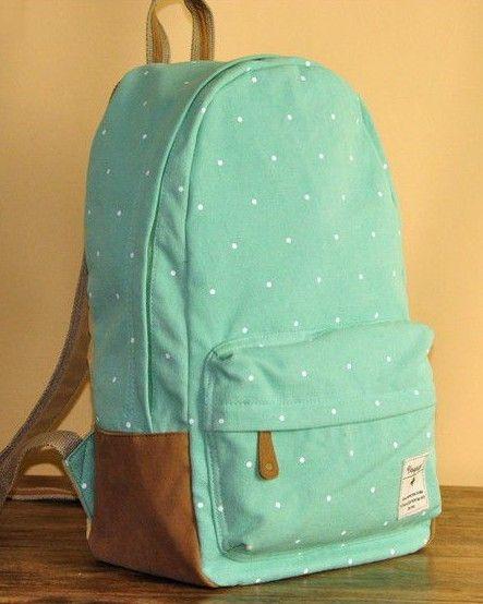 Mint Green Polka Dots Backpack - if you love polka dots like I do, you will love that's website.