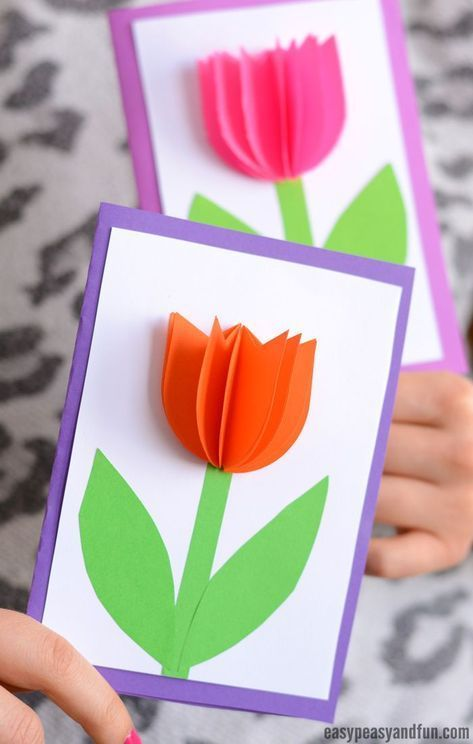 3d Paper Tulip Card Simple Mother S Day Card Idea Mothers Day Crafts For Kids Mothers Day Cards Craft Tulips Card