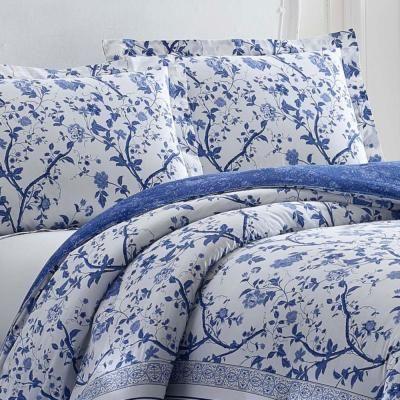 Blue Fl Cotton Twin Comforter Set, Laura Ashley Charlotte Blue Bedding