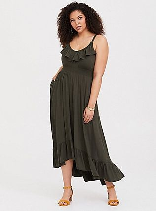 b09f95ea45c Olive Jersey Hi-Lo Maxi Dress