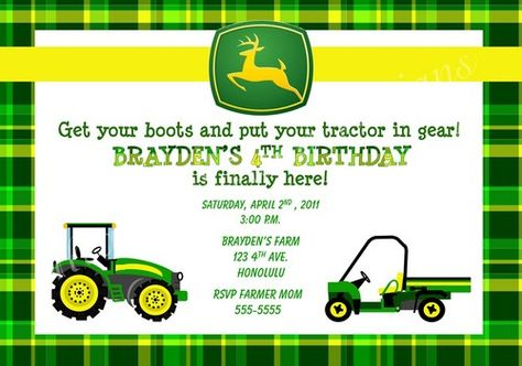 Cool FREE Template John Deere Printable Birthday Invitations