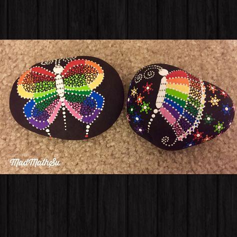 paintedstonesofinstagram Rainbow butterflies on rocks 。...