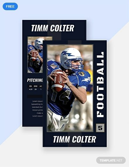 Sports Trading Card Template Free Pdf Word Psd Apple Pages Illustrator Publisher Baseball Card Template Trading Card Template Football Trading Cards