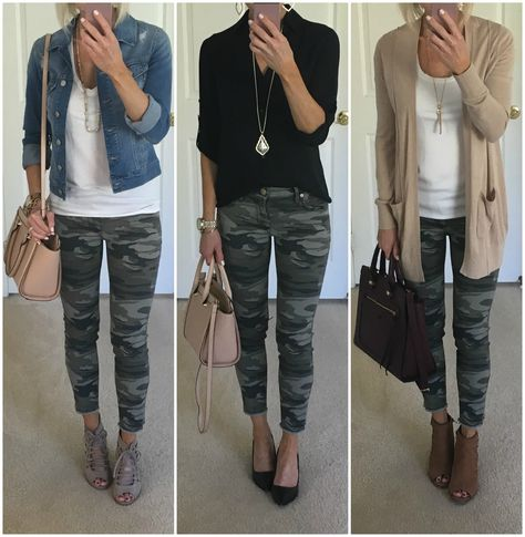 Camo jeans outfit ideas Camo jeans outfit ideas Kelly Outfits One thing I ve really tried to do Camo Jeans Outfit, Outfits With Camo Pants, Womens Jeans Outfits, Cute Jean Outfits, Cute Camo Outfits, Trouser Jeans Outfit, Black Camo Pants, Black Leggings Outfit Summer, Olive Pants Outfit