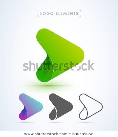 Abstract Origami Play Button Logo In Material Design Style