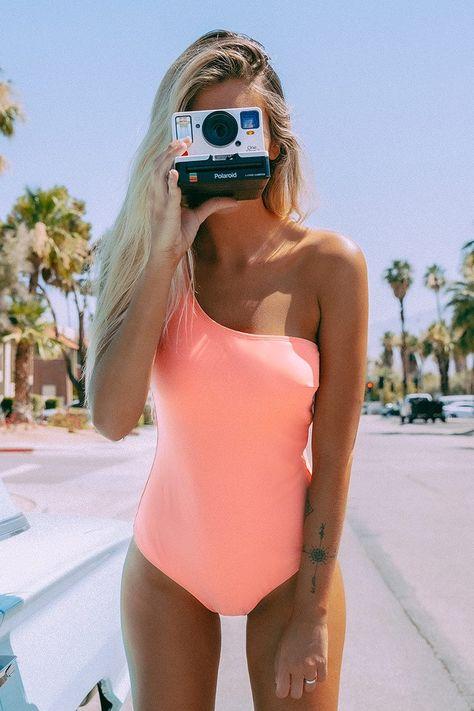 Sexy Solid Pink One-Shoulder One-Piece with Belt Swimsuit Beachwear Monokini Bikini Swimwear, Bikinis, Bikini Tops, Fun One Piece Swimsuit, Trendy One Piece Swimsuits, One Piece Swimsuit Flattering, Swimsuit Pics, Bathing Suits One Piece, One Piece Swimwear