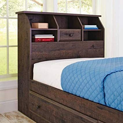Cubbyhole Storage Crossmill Twin Bookcase Headboard Heritage Walnut Review Bookcase Headboard Twin Size Bed Frame Bed Furniture