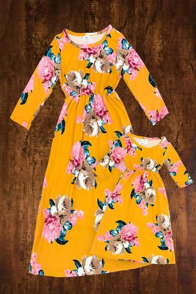 0bd17c93ec10d Mom & Me - Mustard Floral Maxi Dresses | For My Babies | Mommy ...