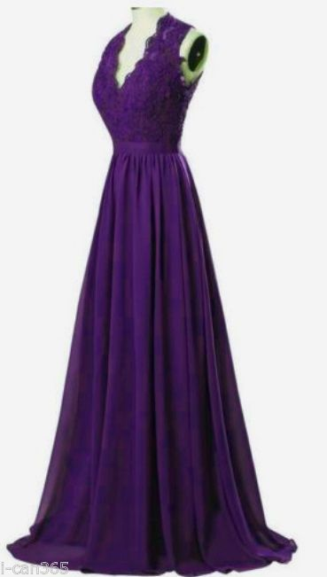 New Long Chiffon Formal Prom Party Ball Bridesmaid Evening Dress Stock Size