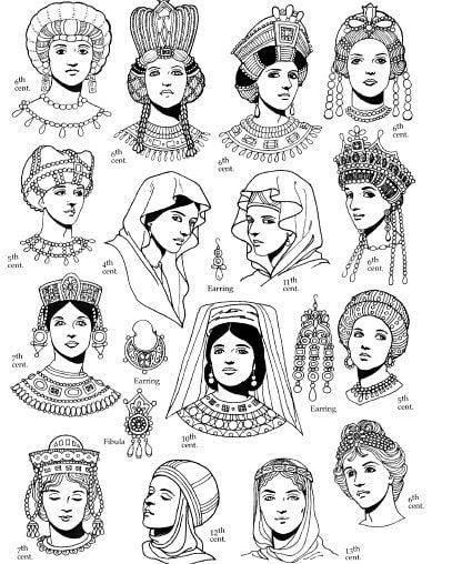 Archaeology Art On Instagram Womens S Hairstyles Of The Byzantine Empire Art Drawing From Tom Tier Byzantine Fashion Byzantine Empire Medieval Fashion