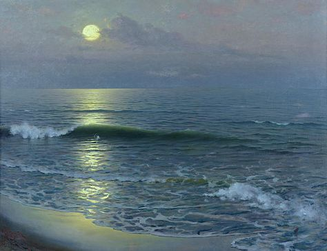 oil on canvas, Guillermo Gomez y Gil , Moonrise, 1906