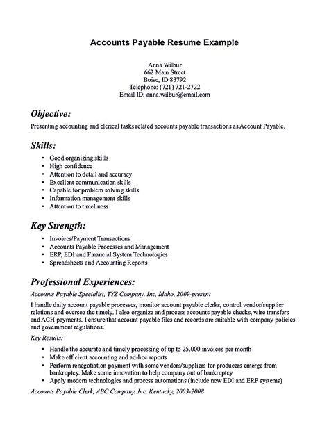 Account Payable Resume Acting Resume Sample Presents Your Skills And Strengths In Details