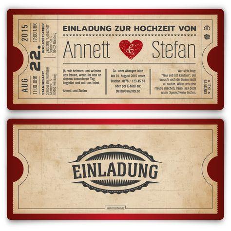 Einladungskarten zur Hochzeit (50 Stück) als Eintrittskarte Vintage Retro Einladung Karte: Amazon.de: Bürobedarf & Schreibwaren