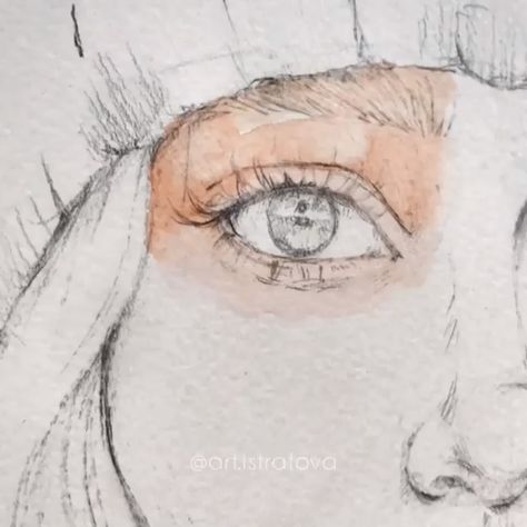Eye Tutorial Realistic Colored Drawing Stages