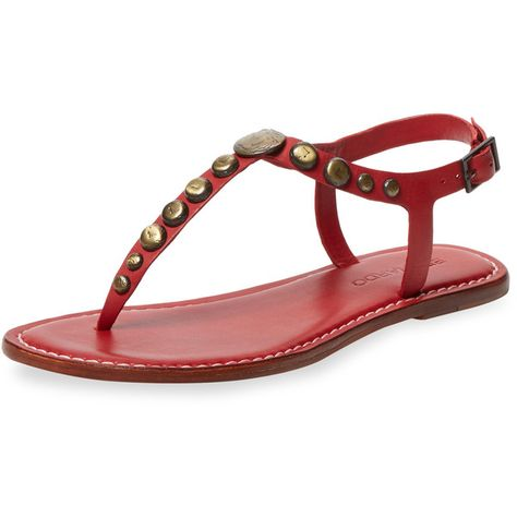 aaa2cc5301f Bernardo Women s Mojo Studded Leather Thong Sandal - Red - Size 5.5 ( 85) ❤