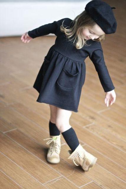 a black long sleeve dress, a black
