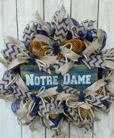 Check out this item in my Etsy shop https://www.etsy.com/listing/159706922/notre-dame-football-wreath-fighting