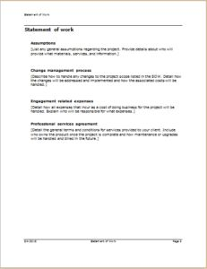 Statement Of Work Template Download At HttpWwwTemplateinnCom