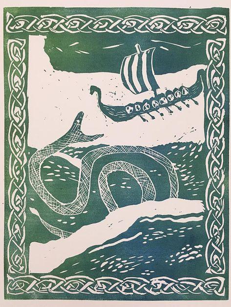Jörmungandr Norse Mythology Relief Art Print, Loki, Vikings