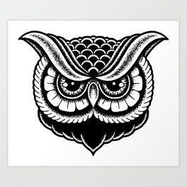 Owl Drawing Art Prints