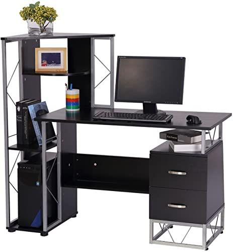 Amazing Offer On Homcom 52 Multi Level Steel Wood Computer Workstation Desk Shelves Drawers Black Online Findandbuytopstyle In 2020 Computer Workstation Desk Modern Home Office Desk Desk Shelves