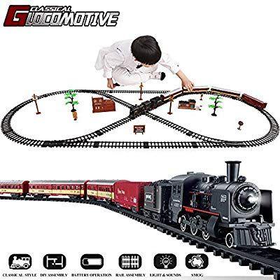 Amazon Com Temi Electronic Deluxe Railway Train Sets W Steam Locomotive Engine Cargo Car And Tracks Battery O Locomotive Engine Train Sets Steam Locomotive