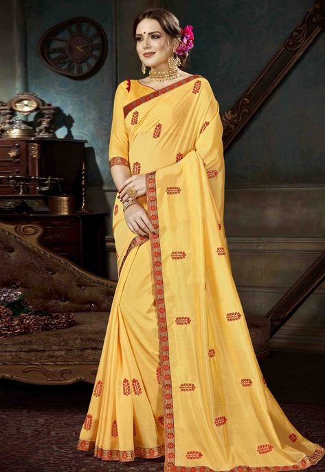 1dd9e73a64 Buy Yellow Georgette Festival Wear Saree 170306 with blouse online at  lowest price from vast collection of sarees at Indianclothstore.com.