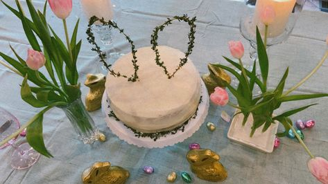 The perfect Easter center piece, and delicious, too! #carrotcake #easter #easterdessert #easterdecor #decor
