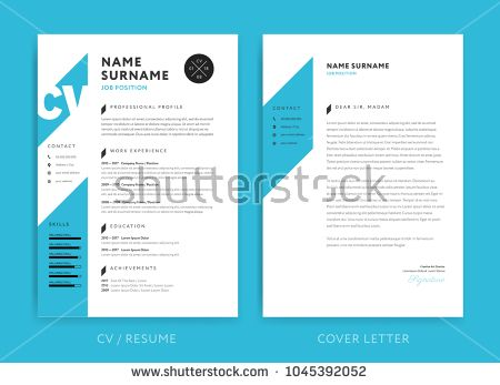 Creative Cv Resume Template Blue Background Color Minimalist Vector Cv Creative Cv Cv Resume Template Resume Template