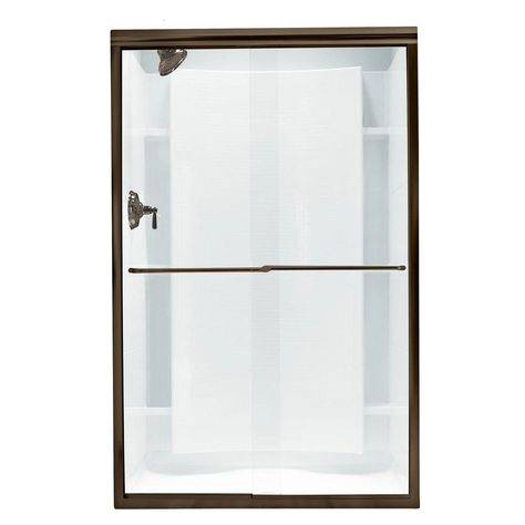 Sterling Finesse 45 3 8 In X 65 1 2 In Semi Frameless Sliding Shower Door In Deep Bronze With Handle Sp5465 45dr G05 Frameless Sliding Shower Doors Shower Doors Shower Remodel