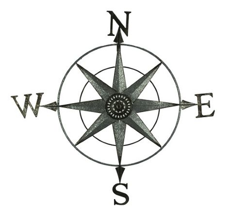Distressed Metal Decorative Compass Rose Wall Sculpture, Gray