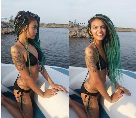 Synthetic Dreads Colors Ombré Dark-Green and Green,  Crochet dreads, Single Ended , length 60cm