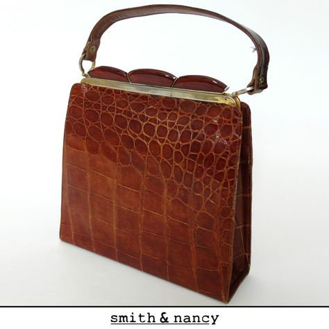 vtg 30s 40s CROCODILE HANDBAG deco bakelite tan skin leather kelly alligator bag