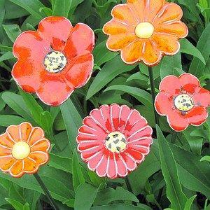 5er Set Keramikblumen Auf Stele Gross Keramik Blumen Schone Garten Blumen